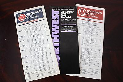 Timetable Flugplan Northwest Orient & Northwest Airlines 1979 1984 1988