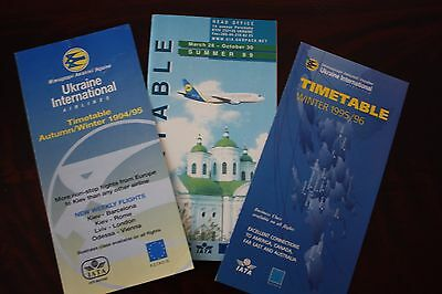Timetable Flugplan Ukraine International Airlines 1994 1995 1996 1999