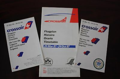 Timetable Flugplan Crossair 1987 1994 1996
