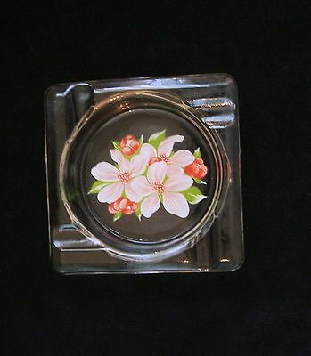 Anchor Hocking Fire King Crystal Color Ashtray with Decoration # 253