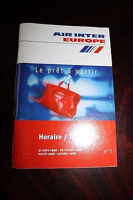 Timetable Flugplan Air Inter Europe 1996