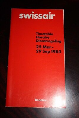Timetable Flugplan Swissair 1984