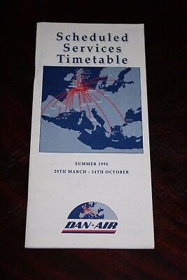 Timetable Flugplan Dan Air 1992