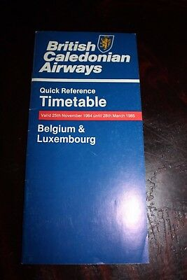 Timetable Flugplan British Caledonian Airways 1984 Belgium & Luxembourg