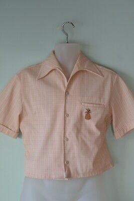 Vintage mens 1950s bathing shirt midriff pineapple  mid century tiki Hawaiian