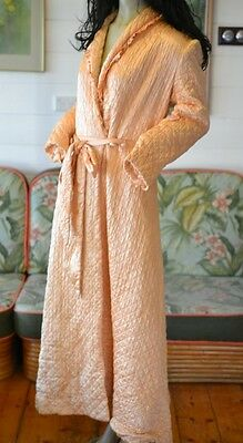 Vintage 1950s dressing gown apricot glamour 50 mid century