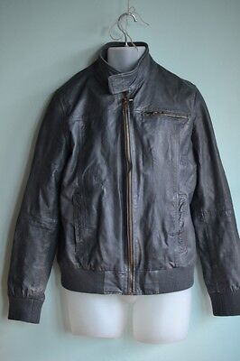 Large Mens Jacket  grey leather  Zaraman