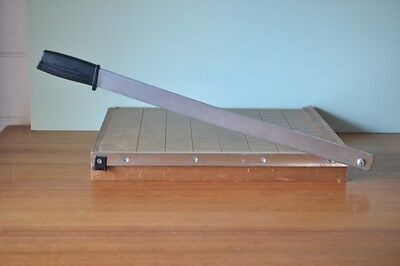 Vintage Guillotine paper cutter wood
