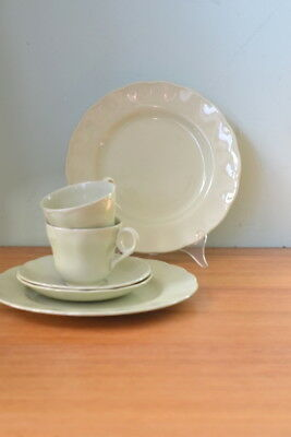 Vintage Almond Petal Grindley Tea cups & saucers and Dinner plates x 2 sets EPLW