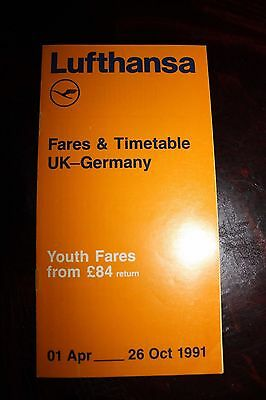 Timetable Fares Flugplan Lufthansa Uk - Germany 1991