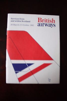 Timetable British Airways From And Within Scotland 1982