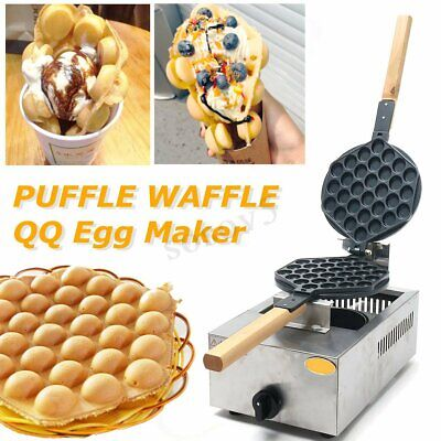 1100W Bubble Waffle Maker Puff Egg Eggettes QQ Commercial Rotating Machine Pan