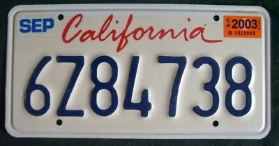California 6Z84738 American License Number Plate