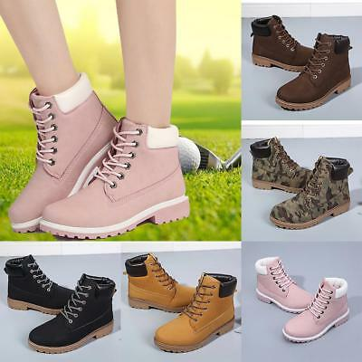 Women's Boots Winter Leather Boot Lace up Outdoor Work Waterproof Snow Boot OC