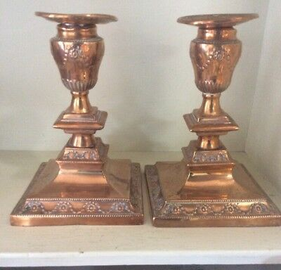 BEAUTIFUL & ELEGANT PAIR OF OLD PLATED  CANDLESTICKS With Plate Loss