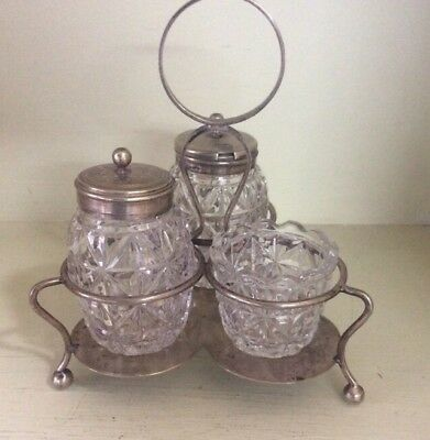 Vintage Antique Cruet Set - Silver Plated - Complete With Stand And Bottles