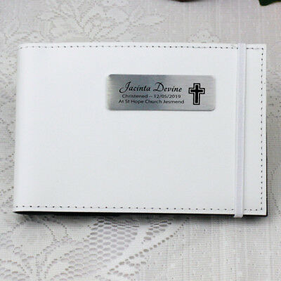 Personalised Christening/Baptism Brag Album -White - Add a Name & Message