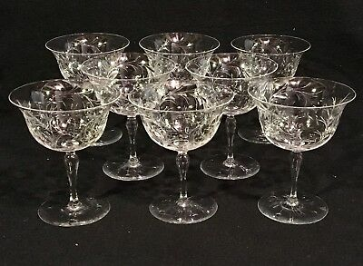 "Set of 8 HAWKES Intaglio Cut Glass 4 5/8"" CRYSTAL LIQUOR COCKTAIL GLASSES"
