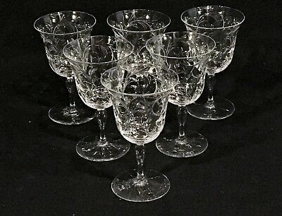"Set of 6 HAWKES Intaglio Cut Glass 4 3/4"" CRYSTAL WINE GLASSES"