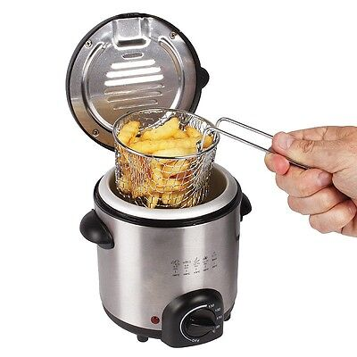 Stainless Steel Compact Mini Deep Fat Fryer 0.5L Oil 600W (Heats Up Quickly)