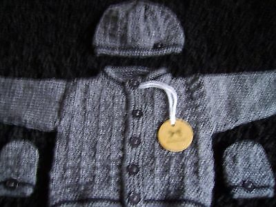 new  hand knitted grey with black detail baby cardigan+ hat +mitts set (NEWBORN)