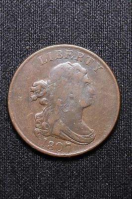 1807 C-1 Draped Bust Half Cent Coin 1/2c Lots of Detail- See Pics #158