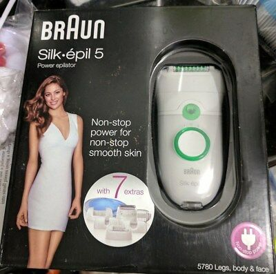 Braun Silk-Epil 5 Power 5780 Epilator+7 Extras Inc Shaver Head and Trimmer Cap