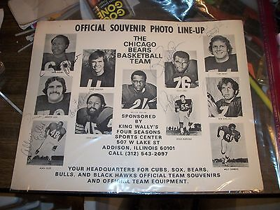 Vintage 1975 Chicago Bears Basketball Line Up Photo Collectable Souvenir Signed