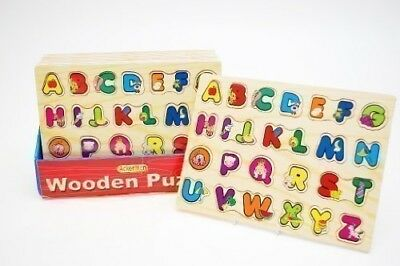 Childrens Kids Learning Wooden Letters ABC Alphabet Puzzle Tray Toy