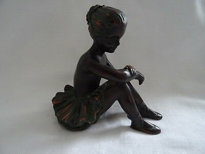 Cold Cast Bronze 4 Inch High Seated Young Girl Ballerina Figurine