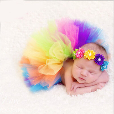 New Colorful Infant Baby Rainbow Princess Party Dancewear Skirt Dresses