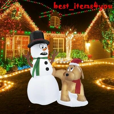 5' Christmas Snowman Dog LED Lighted Yard Inflatable Decor Outdoor Lawn Airblown
