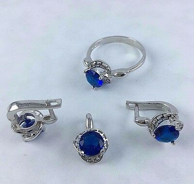 Sterling 925 Silver Handmade Turkish Jewelry Blue Sapphire Ladie Set Ring Size 8
