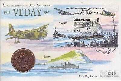 Gb Stamps 1995 Ve Day Gibraltar £5 Coin Special From Collection