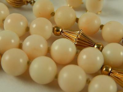 """ANGELSKIN CORAL 14k GOLD BEAD NECKLACE EARRINGS Set Estate 24"""" 6.8 mm GREAT"""