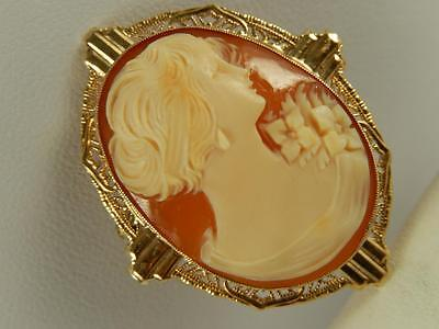10k Gold CAMEO PIN Lady With Jewelry ART DECO BROOCH Carved Shell Earring SEMCO