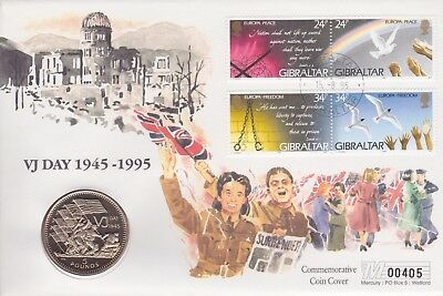 Gb Stamps 1995 Vj Day Gibraltar £5 Coin Special From Collection