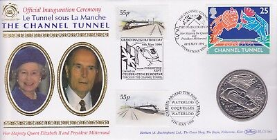 Gb Stamps 1994 Channel Tunnel Gibraltar 2.8 Ecu Coin Special From Collection