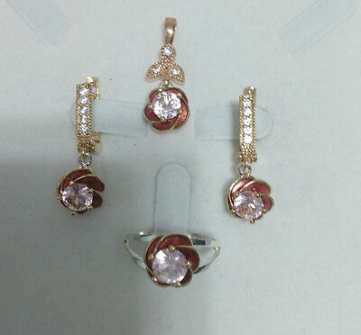 925 Sterling Silver Handmade Jewelry Pink Topaz Accented Lady Sets Sz 8.5