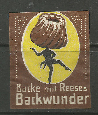 BAKE WITH REESE's BACKWUNDER advertsing stamp/label (German text)