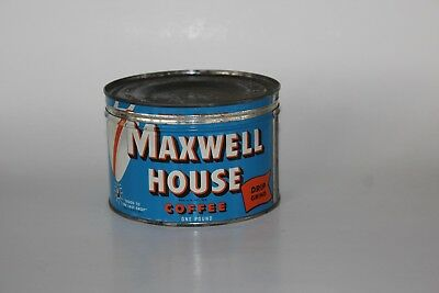 Vtg MAXWELL HOUSE One Pound COFFEE CAN Good To The Last Drop KEY OPENED