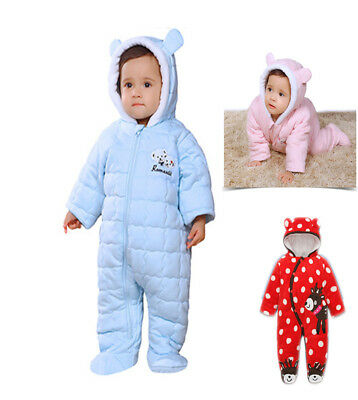 New Baby Snowsuit Winter Pramsuit Coat Boys Girls Blue Pink Red Age 0-12M