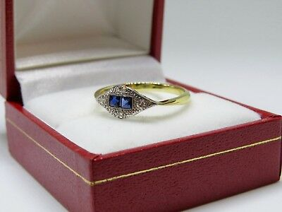 Lovely 18ct Yellow Gold Sapphire and Diamond Art Deco Engagement Ring SIZE Q