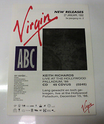 Keith Richards Rolling Stones Rare Dutch Virgin 1992 Promo Folder Hollywood Live