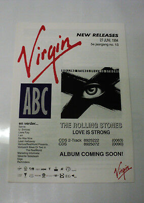 Rolling Stones Rare Dutch Virgin 1994 Promo Folder Release Info Love Is Strong