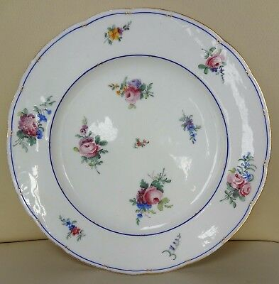 18th Century Floral Sevres Porcelain Plate Signed CL and Dated 1790