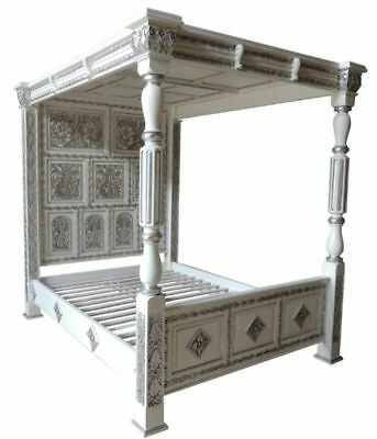 Huge Tudor Style White & Silver Leaf Carved Four Poster 6' Super Kingsize Bed