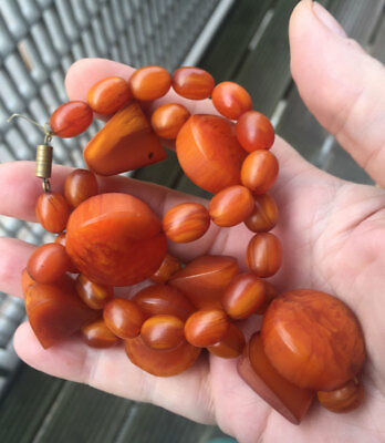 1940's Butterscotch Amber Bakelite Necklace -  21 inches 64 gms