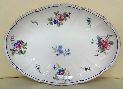 18th Century Floral Sevres Porcelain Oval Dish Signed M and Dated 1789
