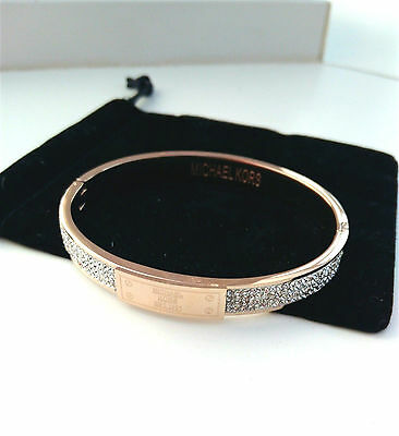 Michael Kors Bangle Rose Gold Chunky Plaque Bangle Bracelet w/ a pouch